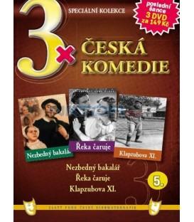3x Česká komedie V - Nezbedný bakalář / Řeka čaruje / Klapzubova XI. DVD