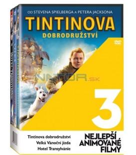 Rodinné animáče (Tintinova dobrodružství, Velká vánoční jízda, Hotel Transylvania) 3 x DVD
