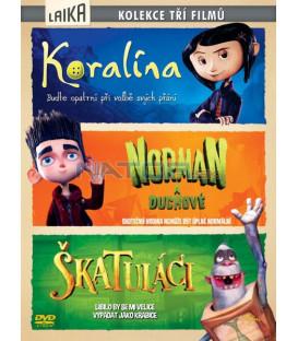 3 X DVD Koralína-Norman a duchové-Škatuláci DVD