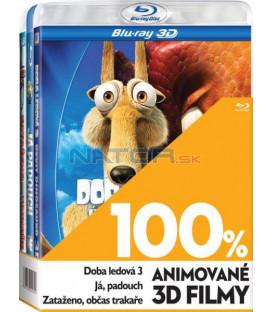 100% 3D Animované filmy (Doba ledová 3, Já, padouch, Zataženo, občas trakaře) - 3xBLU-RAY
