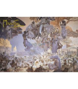 Pohled Alfons Mucha Slovanská epopej – Slavnost Svantovítova, krátký