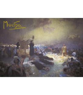 Pohled Alfons Mucha Slovanská epopej – Po bitvě na Vítkově, krátký