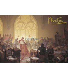 Pohled Alfons Mucha Slovanská epopej – Jiří z Poděbrad, krátký