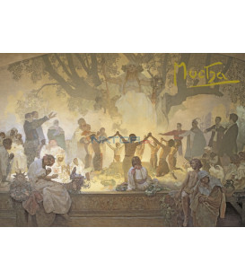 Pohled Alfons Mucha Slovanská epopej – Přísaha Omladiny, krátký