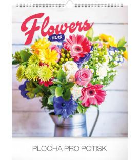 Nástenný kalendár Kvety 2019, 30 x 34 cm