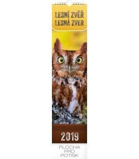 Nástenný kalendár Lesní zver – Lesná zver 2019, 12 x 48 cm