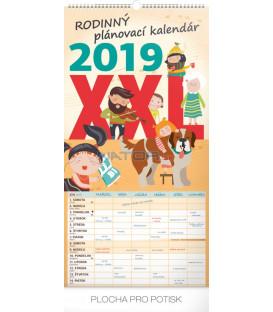 Nástenný kalendár Rodinný plánovací XXL SK 2019, 33 x 64 cm