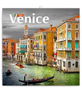 Poznámkový kalendár Benátky 2019, 30 x 30 cm