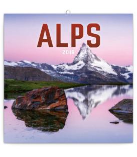 Poznámkový kalendár Alpy 2019, 30 x 30 cm