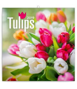 Poznámkový kalendár Tulipány 2019, 30 x 30 cm