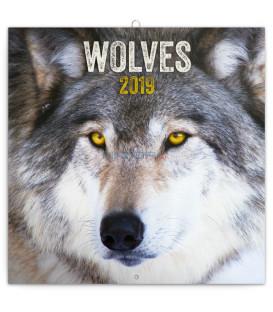 Poznámkový kalendár Vlky 2019, 30 x 30 cm
