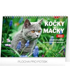 Stolový kalendár Kočky – Mačky CZ/SK 2019, 23,1 x 14,5 cm