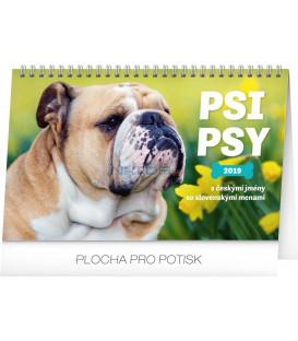 Stolový kalendár Psi – Psy CZ/SK 2019, 23,1 x 14,5 cm