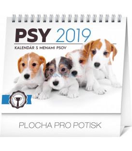Stolový kalendár Psy – s menami psov SK 2019, 16,5 x 13 cm
