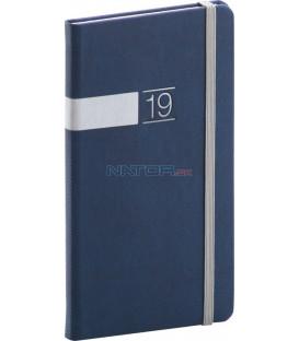 Vreckový diár Twill 2019, modrý, 9 x 15,5 cm
