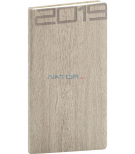 Vreckový diár Forest 2019, krémový, 9 x 15,5 cm