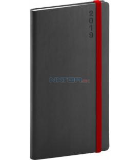 Vreckový diár Soft 2019, čierny, 9 x 15,5 cm
