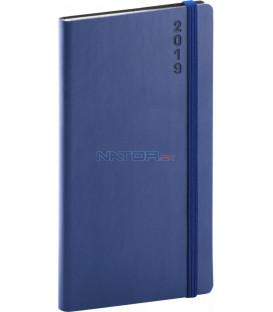 Vreckový diár Soft 2019, modrý, 9 x 15,5 cm