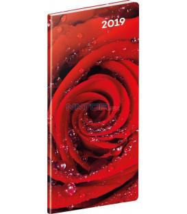 Vreckový diár Ruže SK 2019, plánovací mesačný, 8 x 18 cm