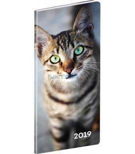 Vreckový diár Mačky SK 2019, plánovací mesačný, 8 x 18 cm