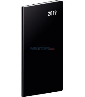 Vreckový diár Čierny SK 2019, plánovací mesačný, 8 x 18 cm