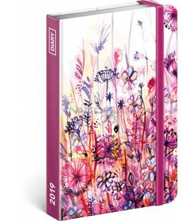 Týždenný diár Akvarelové kvety 2019, 10,5 x 15,8 cm