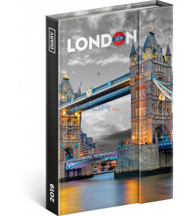 Týždenný magnetický diár Londýn 2019, 10,5 x 15,8 cm