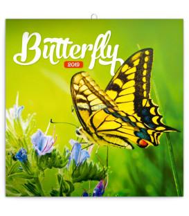 Poznámkový kalendár Motýle 2019, 30 x 30 cm