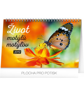 Stolový kalendár Život motýlů – motýľov CZ/SK 2019, 23,1 x 14,5 cm