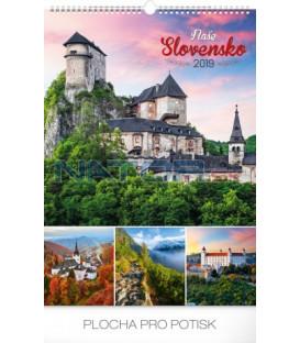 Nástenný kalendár Naše Slovensko 2019, 33 x 46 cm