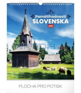 Nástenný kalendár Pamätihodnosti Slovenska SK 2019, 30 x 34 cm