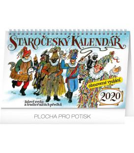 Stolní staročeský kalendář – reedice – Kamila Skopová CZ 2020, 23,1 x 14,5 cm
