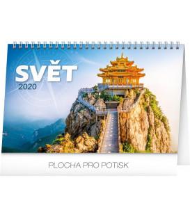 Stolní kalendář Svět CZ 2020, 23,1 x 14,5 cm