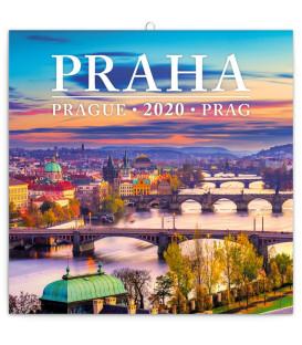 Poznámkový kalendár Praha mini 2020, 18 x 18 cm