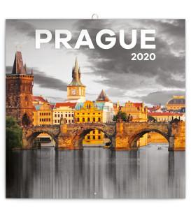 Poznámkový kalendár Praha čiernobiela 2020, 30 x 30 cm