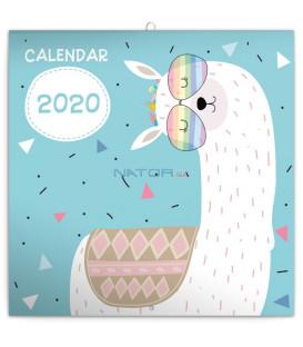 Poznámkový kalendár Šťastné lamy 2020, 30 x 30 cm
