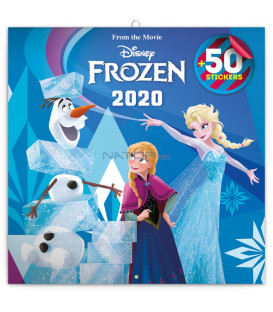 Poznámkový kalendár Frozen – Ľadové kráľovstvo 2020, s 50 samolepkami, 30 x 30 cm