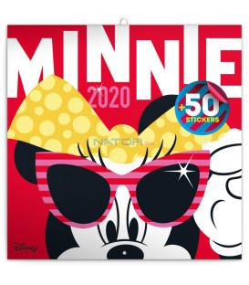 Poznámkový kalendár Minnie 2020, s 50 samolepkami, 30 x 30 cm