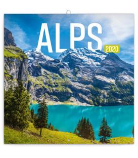Poznámkový kalendár Alpy 2020, 30 x 30 cm