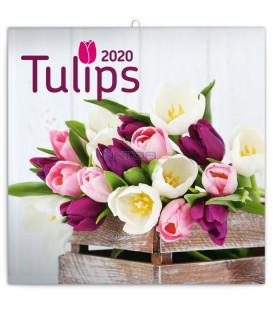 Poznámkový kalendár Tulipány 2020, 30 x 30 cm