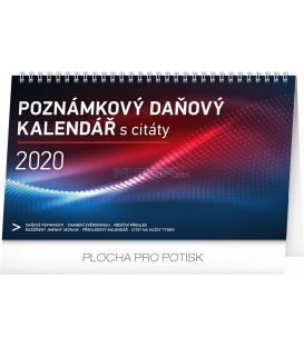 Stolní kalendář Poznámkový daňový s citáty CZ 2020, 25 x 14,5 cm
