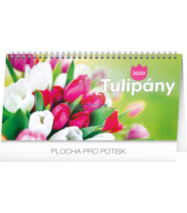 Stolní kalendář Tulipány řádkový CZ 2020, 25 x 12,5 cm
