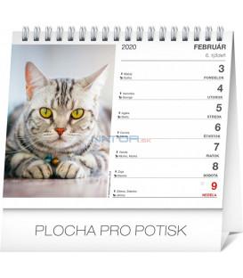 Stolový kalendár Mačky – s menami mačiek SK 2020, 16,5 x 13 cm