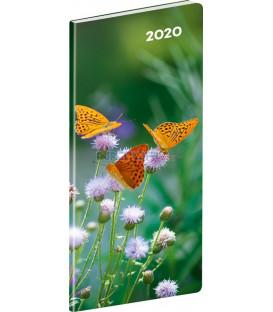 Vreckový diár Motýle SK 2020, plánovací mesačný, 8 x 18 cm