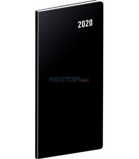 Vreckový diár Čierny SK 2020, plánovací mesačný, 8 x 18 cm