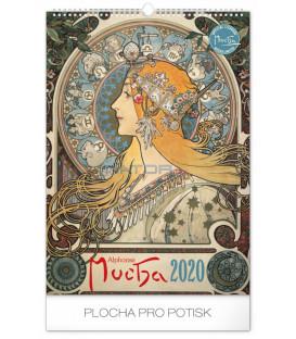 Nástenný kalendár Alfons Mucha 2020, 33 x 46 cm