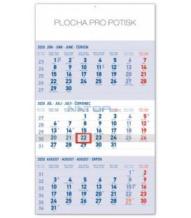 Nástenný kalendár 3mesačný štandard modrý – so slovenskými menami SK 2020, 29,5 x 43 cm