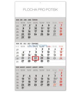 Nástenný kalendár 3mesačný štandard šedý – so slovenskými menami SK 2020, 29,5 x 43 cm