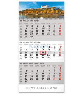 Nástenný kalendár 3mesačný Bratislava šedý – so slovenskými menami SK 2020, 29,5 x 43 cm