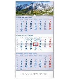 Nástenný kalendár 3mesačný Tatry modrý – so slovenskými menami SK 2020, 29,5 x 43 cm